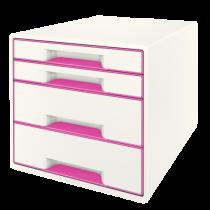 Förvaringsbox Leitz Wow 4 lådor rosa