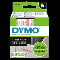 Märktejp Dymo D1 röd/transparent 12mmx7m